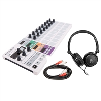 Arturia BeatStep Pro Controller and Sequencer with Headphones and AxcessAbles Midi Cable