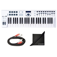 Arturia KeyLab 49 Essential Universal MIDI Controller with Axcessables MID-203 Dual Midi Cables and Polishing Cloth