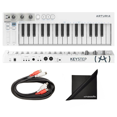 Arturia KEYSTEP Portable Keyboard Sequencer with Axcessables Dual Midi Cables and Polishing Cloth