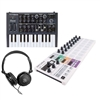 Arturia MicroBrute 25 Mini Key Analog Synthesizer w/ BeatStep Pro Controller and Sequencer and AxcessAbles Headphones