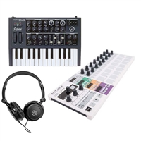 Arturia MicroBrute 25 Mini Key Analog Synthesizer with BeatStep Pro Controller and Sequencer and Headphone