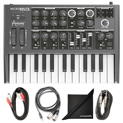 Arturia MicroBrute Analog Synthesizer w/ AxcessAbles Cable Pack