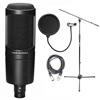 Audio Technica AT2020 Cardioid Condenser Microphone w/ AxcessAbles Microphone Stand, Audio Cable and Microphone Pop Filter