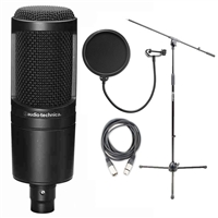 Audio Technica AT2020 Cardioid Condenser Microphone w/ AxcessAbles Microphone Stand, XLR Audio Cable and Microphone Pop Filter