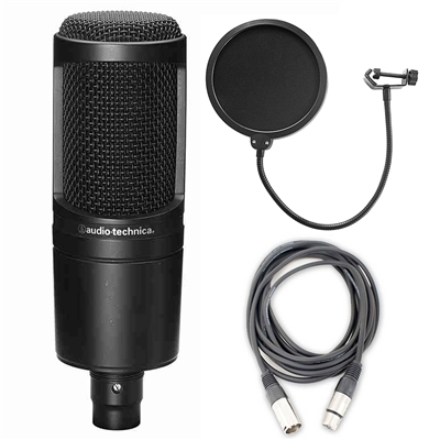 Audio Technica AT2020 Cardioid Condenser Microphone w/ AxcessAbles Audio Cable and Microphone Pop Filter
