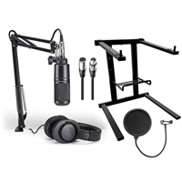 Audio Technica AT2020PK Streaming/Podcasting Pack w/ AxcessAbles Microphone Pop filter, XLR Audio Cable, Laptop Stand and eStudioStar Polishing Cloth