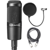 Audio-Technica AT2035 Cardioid Condenser Microphone w/ AxcessAbles Microphone Pop Filter and Audio Cable