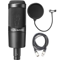 Audio-Technica AT2035 Cardioid Condenser Microphone w/ AxcessAbles Microphone Pop Filter and XLR Audio Cable