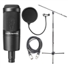Audio-Technica AT2035 Cardioid Condenser Microphone w/ AxcessAbles Microphone Pop Filter, Audio Cable and Microphone Stand