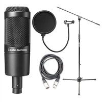 Audio-Technica AT2035 Cardioid Condenser Microphone w/ AxcessAbles Microphone Pop Filter, XLR Audio Cable and Microphone Stand
