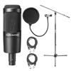 Audio-Technica AT2035 Cardioid Condenser Microphone w/ AxcessAbles Microphone Pop Filter, Audio Cables and Microphone Stand