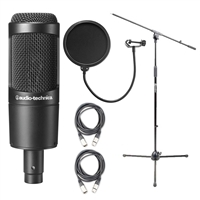 Audio-Technica AT2035 Cardioid Condenser Microphone w/ AxcessAbles Microphone Pop Filter, XLR Audio Cables and Microphone Stand