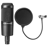 Audio-Technica AT2035 Cardioid Condenser Microphone w/ AxcessaAbles Microphone Pop Filter