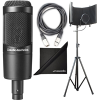 Audio-Technica AT2035 Cardioid Condenser Microphone w/ AxcessAbles Studio Microphone Isolation Shield Stand, XLR Audio Cable and eStudioStar Polishing Cloth