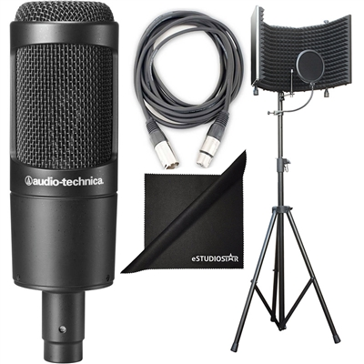 Audio-Technica AT2035 Cardioid Condenser Microphone w/ AxcessAbles Studio Microphone Isolation Shield Stand, Audio Cable and eStudioStar Polishing Cloth