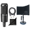 Audio-Technica AT2035 Cardioid Condenser Microphone w/ AxcessAbles Recording Microphone Isolation Shield, Audio Cable and eStudioStar Polishing Cloth