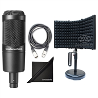 Audio-Technica AT2035 Cardioid Condenser Microphone w/ AxcessAbles Recording Microphone Isolation Shield, XLR Audio Cable and eStudioStar Polishing Cloth