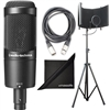 Audio-Technica AT2050 Multi-Pattern Condenser Microphone w/ AxcessAbles Recording Studio Microphone Isolation Shield Stand, Audio Cable and eStudioStar Polishing Cloth