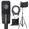 Audio Technica AT4040 Cardioid Condenser Microphone w/ AxcessAbles Studio Microphone Isolation Shield Stand, Audio Cables and eStudioStar Polishing Cloth