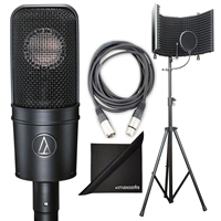 Audio Technica AT4040 Cardioid Condenser Microphone w/ AxcessAbles Studio Microphone Isolation Shield Stand, XLR Audio Cable and eStudioStar Polishing Cloth