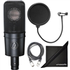 Audio-Technica AT4040 Cardioid Condenser Microphone w/ AxcessAbles XLR Cable, Micorphone Pop Filter and eStudioStar Polishing Cloth