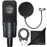 Audio-Technica AT4040 Cardioid Condenser Microphone w/ AxcessAbles XLR Cable, Microphone Pop Filter and eStudioStar Polishing Cloth