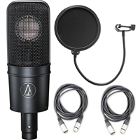Audio-Technica AT4040 Cardioid Condenser Microphone w/ AxcessAbles XLR Cables and Microphone Pop Filter