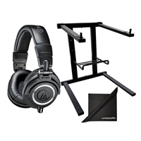 Audio-Technica ATH-M50x Monitor Headphones w/ AxcessAbles Laptop Stand and eStudioStar Polishing Cloth