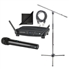 Audio-Technica ATW-1102 Wireless Microphone Set w/ AxcessAbles Microphone Stand Boom, XLR Audio Cable and eStudioStar Polishing Cloth