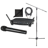 Audio-Technica ATW-1102 Wireless Microphone Set w/ AxcessAbles Microphone Stand Boom, Audio Cable and eStudioStar Polishing Cloth