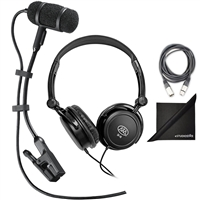 Audio-Technica Pro 35 Cardioid Clip-On Microphone w/ Stereo Headphones, AxcessAbles Audio Cable and eStudioStar Polishing Cloth