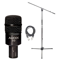 Audix D2 with 20ft XLR Cable and Boom Stand, AUDXD2-Bundle-2, XD2