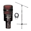 Audix D4 Kick/Bass Drum Microphone w/ 20ft XLR Cable and Boom Stand