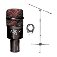 Audix D4 Kick/Bass Drum Microphone with 20ft XLR Cable and Boom Stand