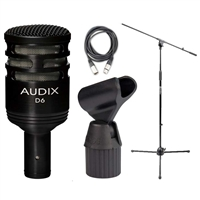 Audix D6 Cardioid Kick Drum Microphone w/ Boom Mic Stand, 20' XLR Cable and ShockProof Mic Clip