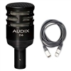 Audix D6 Cardioid Instrument Kick Drum Microphone w/ 20ft XLR Cable, AUDXD6-Bundle-1, XD6