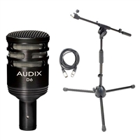 Audix D6 Dynamic Cardioid Instrument Kick Drum Microphone D 6 Drum Mic with Mic Stand and XLR Cable