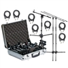 Audix DP7 Microphone Kit w/ Mic Cables, Tall and Short Mic Stand with Boom