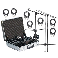 Audix DP7 Microphone Kit with 7 XLR Cables, 2 Tall and Short Mic Stand with Boom