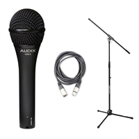 Audix OM2 Dynamic Hypercardioid  Microphone w/20ft XLR Cable and Stand, AUDXOM2-Bundle-2, XOM2
