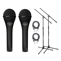 Audix OM-5 Dynamic Hypercardioid Microphone with Cable and Stand 2 Pack, AUDXOM2-Bundle-3, OM2