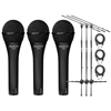Audix OM2 Microphones 3pcs w/ 3pcs Stands and Cables