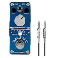 AxcessAbles DOUBLE SHOT Delay Guitar Pedal w/ AxcessAbles Snap Connector and Instrument Cable