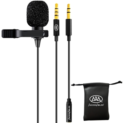 AxcessAbles LAV-C Lavalier Lapel Condenser Clip-On Microphone, Omnidirectional Condenser Mic for Apple iPhone, Android Smartphones, iPad, PC, Mac, Youtube, Interviews, Voice-overs, Recordings