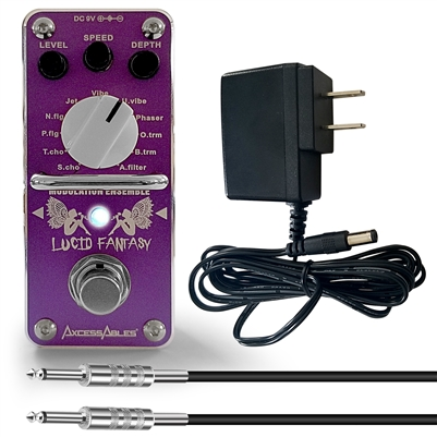 AxcessAbles Lucid Fantasy Modulation Ensemble Guitar Pedal w/ Cable and Power supply