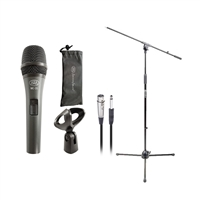 AxcessAbles MC20 Dynamic Handheld Microphone Stand Cable Bundle On Off Switch Live Studio Stage