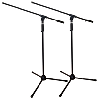 AxcessAbles MS-101 Microphone Stand with Boom Arm Pair