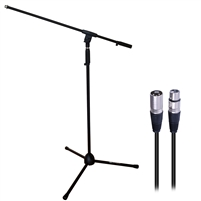 AxcessAbles MS-101 Microphone Stand with Boom Arm and XLR-XLR20 Audio Cable Pack