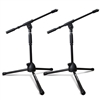 AxcessAbles MS-101L Low Profile Microphone Stand with Boom Pair