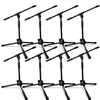 AxcessAbles MS-101L Low Profile Microphone Stand with Boom 8-Pack
